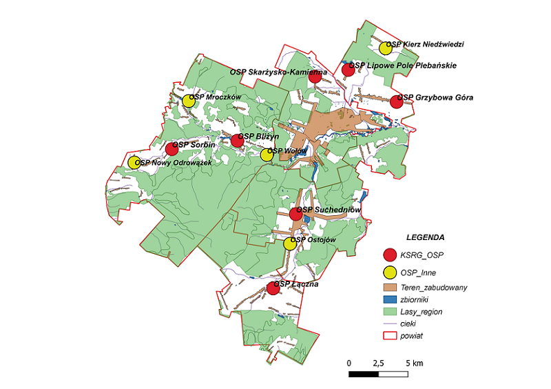 Mapa lokalizacji jednostek OSP powiatu skarżyskiego